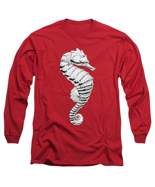 Silver Seahorse On Red Canvas Long Sleeve T-Shirt by Serge Averbukh