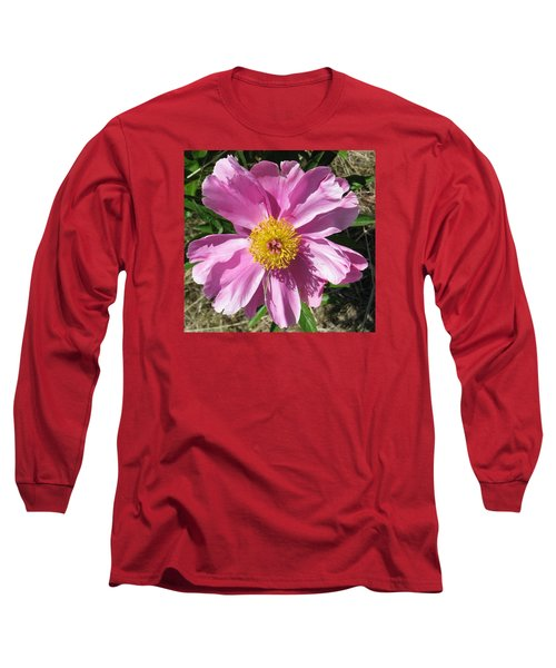 Single Pink Peony Long Sleeve T-Shirt