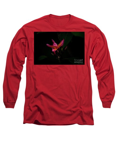 Single Red Plumeria Bloom Long Sleeve T-Shirt