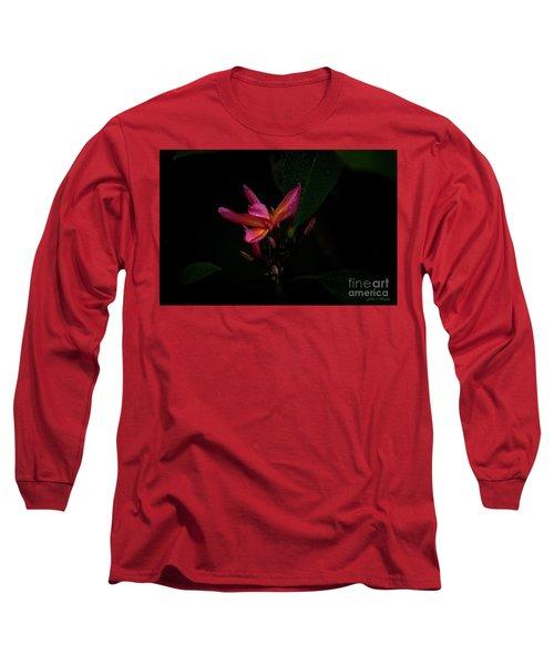 Single Red Plumeria Bloom Long Sleeve T-Shirt