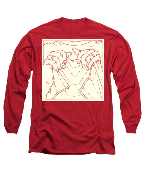 Long Sleeve T-Shirt featuring the drawing Sixth Station- Veronica Wipes The Face Of Jesus by William Hart McNichols