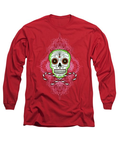Skull And Candy Canes Long Sleeve T-Shirt by Tammy Wetzel
