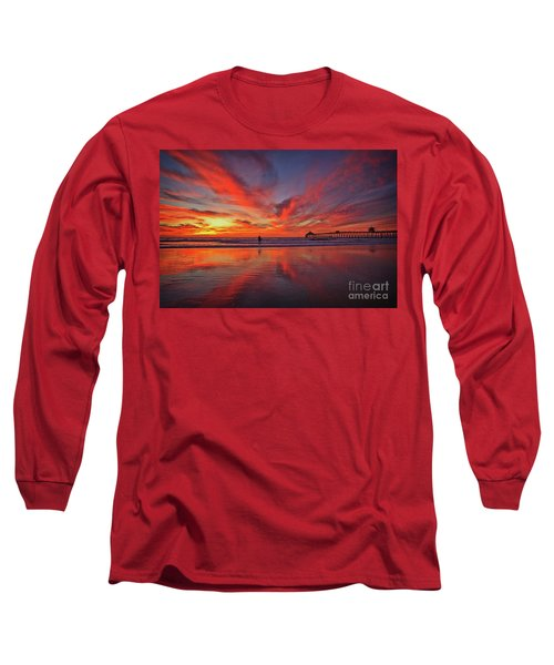 Sky On Fire At The Imperial Beach Pier Long Sleeve T-Shirt