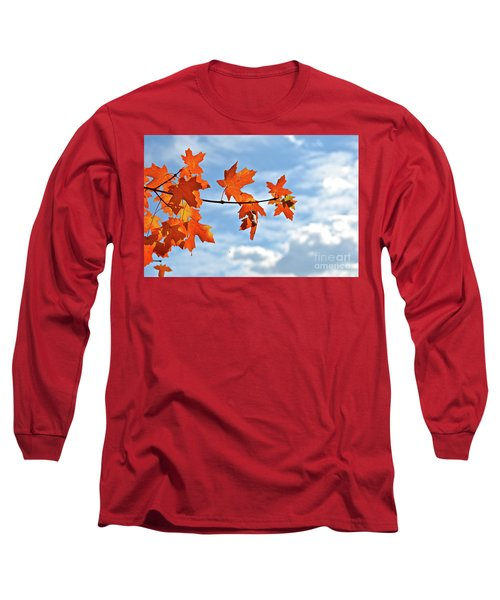 Sky View With Autumn Maple Leaves Long Sleeve T-Shirt