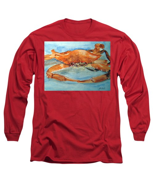 Long Sleeve T-Shirt featuring the painting Snow Crab Is Ready by Carol Grimes