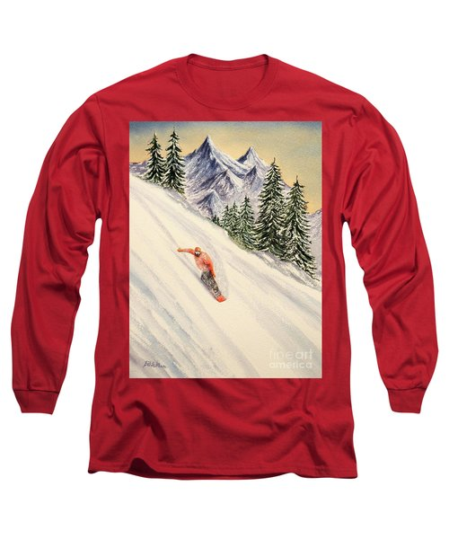 Long Sleeve T-Shirt featuring the painting Snowboarding Free And Easy by Bill Holkham