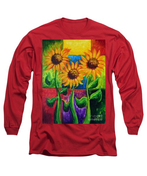 Long Sleeve T-Shirt featuring the painting Sonflowers II by Holly Carmichael