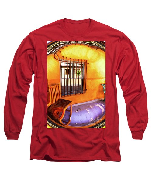 Southwestern Porch Distortion With Puple Floor Long Sleeve T-Shirt