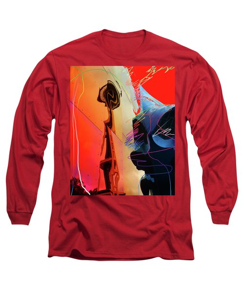 Long Sleeve T-Shirt featuring the digital art Space Needle Reflection 1 by Walter Fahmy