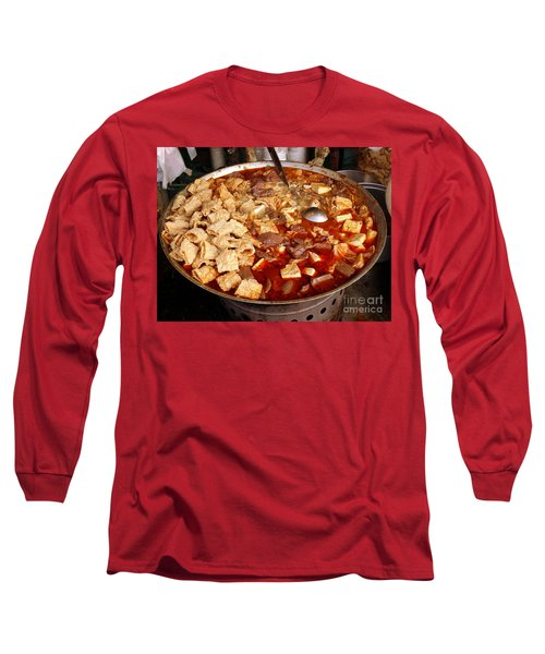 Long Sleeve T-Shirt featuring the photograph Spicy Tofu Dish With Duck Blood Cakes by Yali Shi