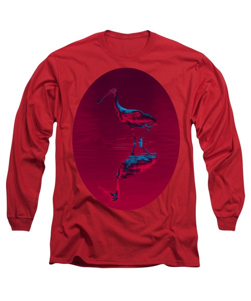 Spoonbill Abstract Decor Long Sleeve T-Shirt