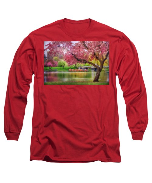 Long Sleeve T-Shirt featuring the photograph Spring Afternoon In The Boston Public Garden - Boston Swan Boats by Joann Vitali