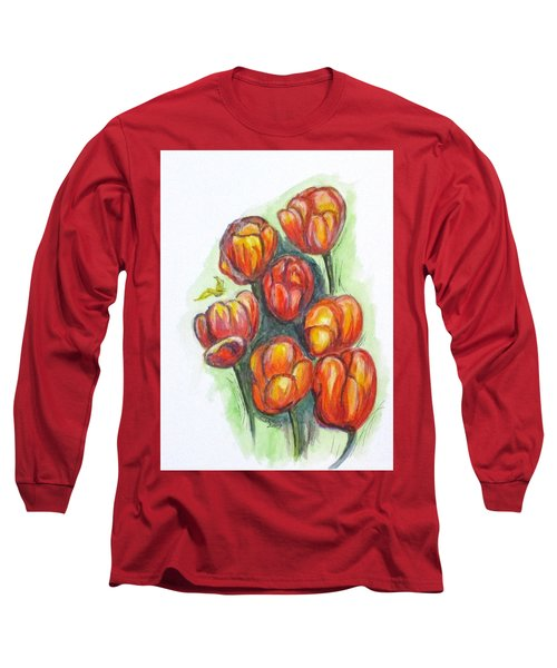 Spring Tulips Long Sleeve T-Shirt by Clyde J Kell