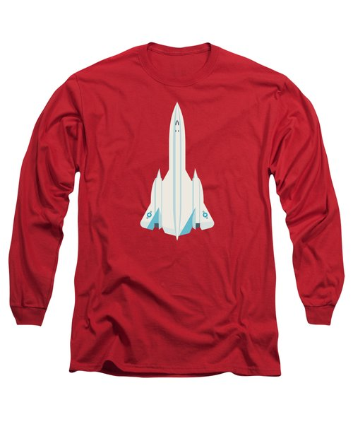 Sr-71 Blackbird Jet Aircraft - Crimson Long Sleeve T-Shirt