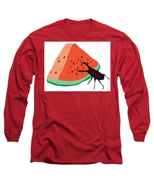 Stag Beetle Is Eating A Piece Of Red Watermelon Long Sleeve T-Shirt