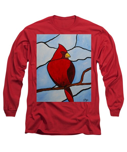 Stained Glass Cardinal Long Sleeve T-Shirt