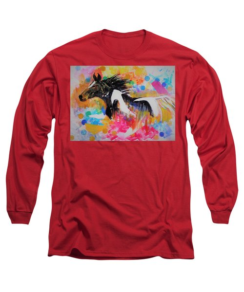 Stallion In Abstract Long Sleeve T-Shirt by Khalid Saeed
