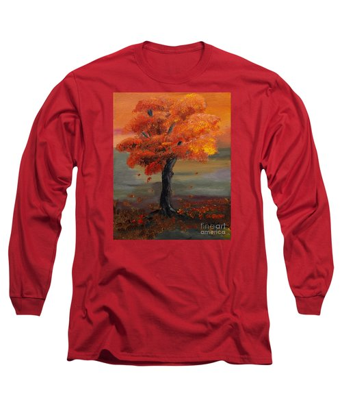 Stand Alone In Color - Autumn - Tree Long Sleeve T-Shirt by Jan Dappen