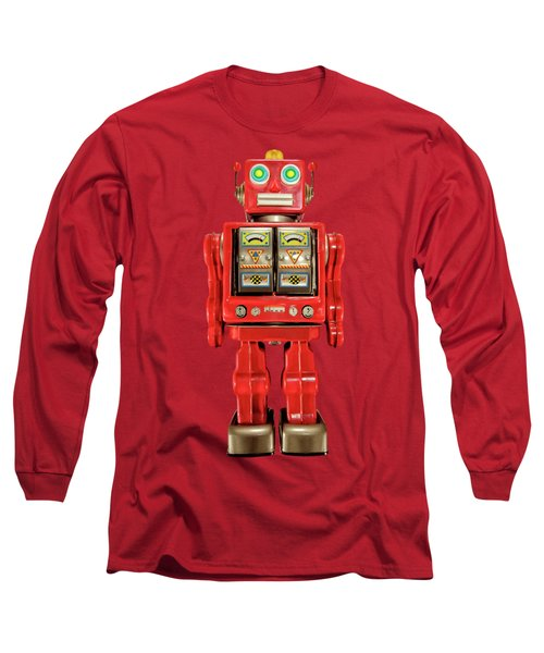 Star Strider Robot Red On Black Long Sleeve T-Shirt by YoPedro