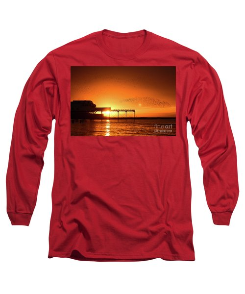 Starlings At Sunset Over Aberystwyth Pier Long Sleeve T-Shirt