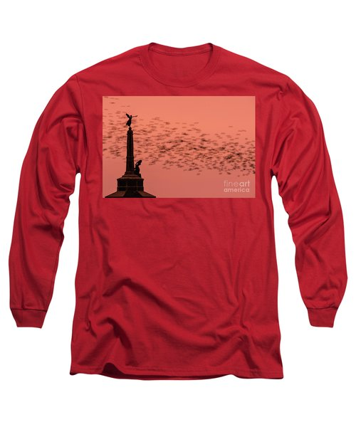 Starlings Sweeping Past Aberystwyth War Memorial Long Sleeve T-Shirt
