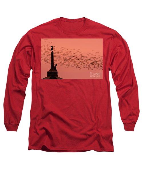 Starlings Sweeping Past Aberystwyth War Memorial Long Sleeve T-Shirt