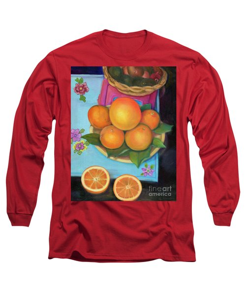 Still Life Oranges And Grapefruit Long Sleeve T-Shirt by Marlene Book