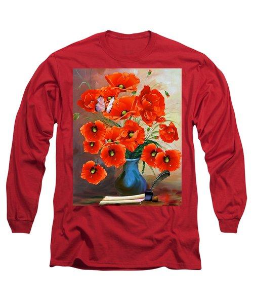 Still Life Poppies Long Sleeve T-Shirt
