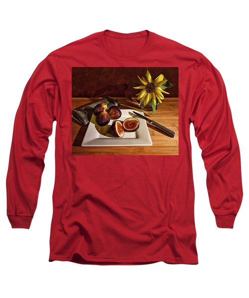 Still Life With Flower And Figs Long Sleeve T-Shirt