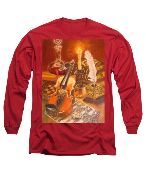 Still Life With Violin And Candle Long Sleeve T-Shirt
