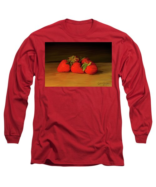 Strawberries 01 Long Sleeve T-Shirt by Wally Hampton
