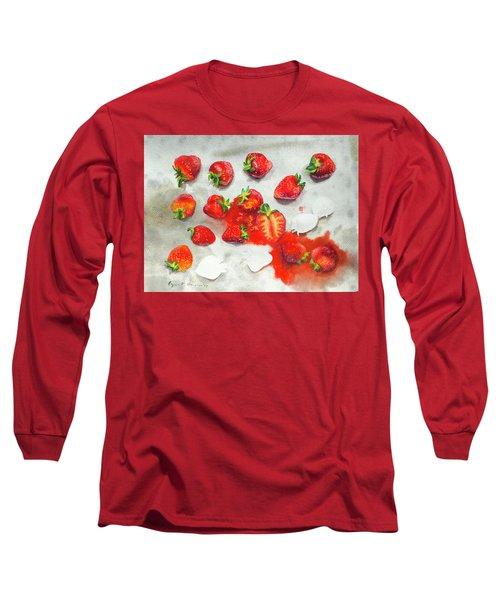 Strawberries On Paper Towel Long Sleeve T-Shirt