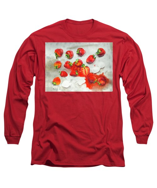 Strawberries On Paper Towel Long Sleeve T-Shirt
