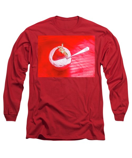 Strawberry Yogurt In Round Bowl With Spoon Long Sleeve T-Shirt
