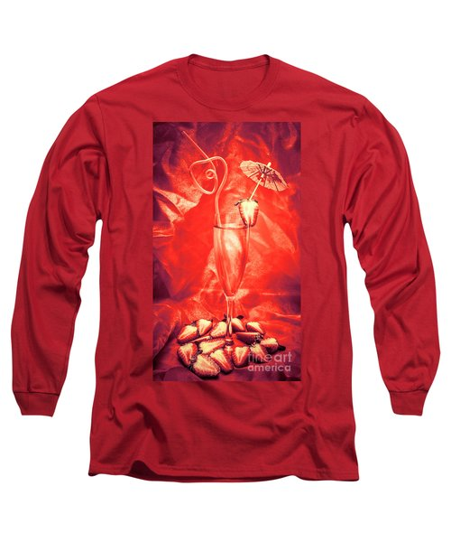 Straweberry Tropical Cocktail Drink Long Sleeve T-Shirt