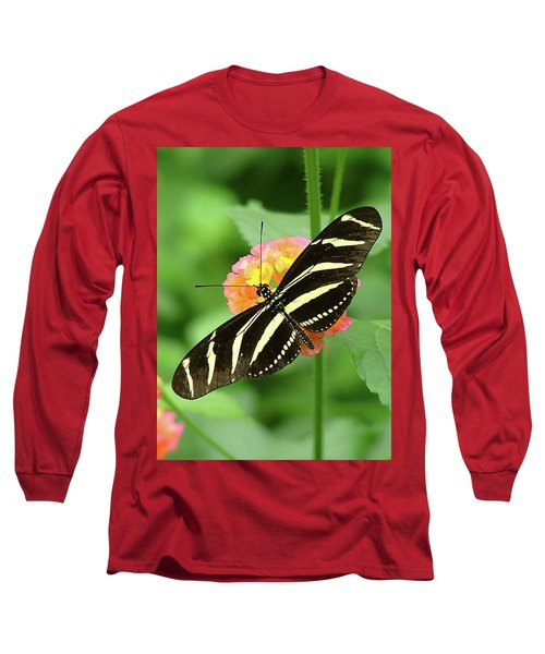Striped Butterfly Long Sleeve T-Shirt by Wendy McKennon