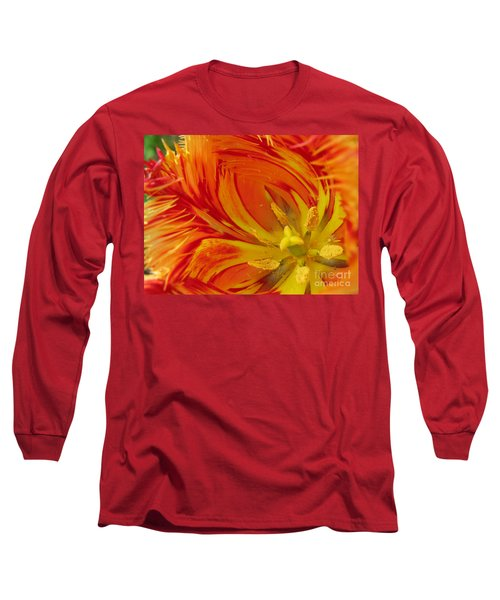 Striped Parrot Tulips. Olympic Flame Long Sleeve T-Shirt