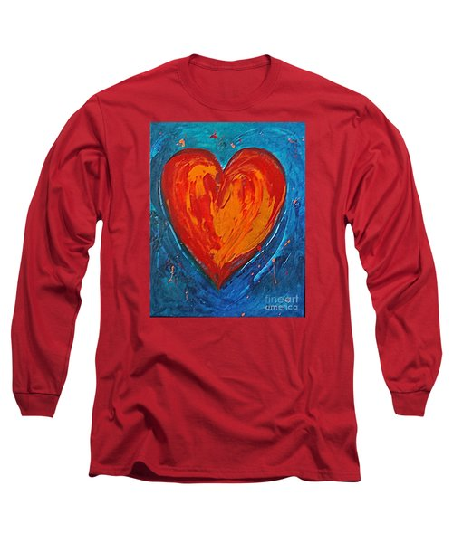 Long Sleeve T-Shirt featuring the painting Strong Heart by Diana Bursztein