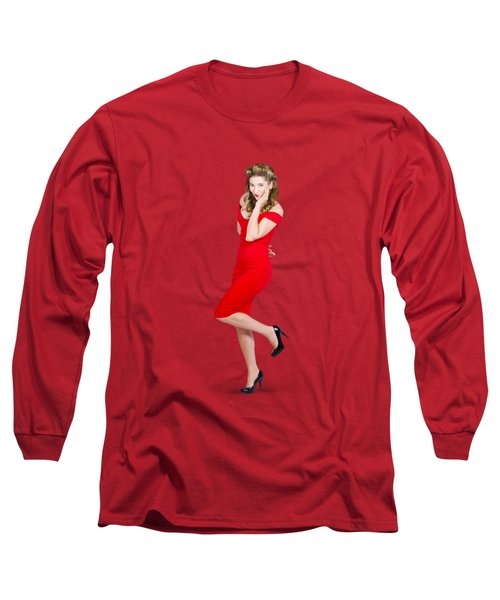 Stunning Pinup Girl In Red Rockabilly Fashion Long Sleeve T-Shirt
