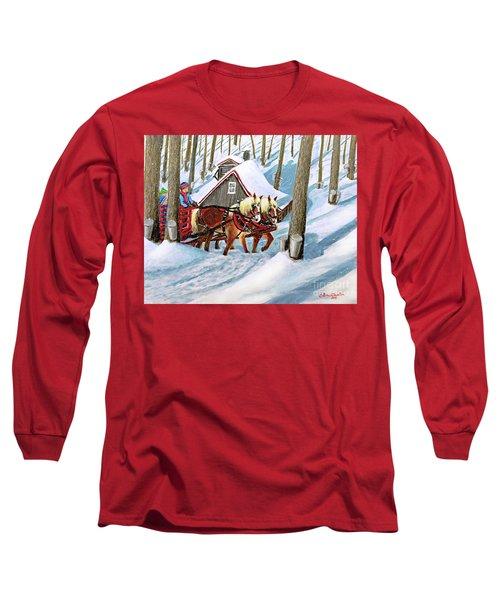 Sugar Bush Sleigh Ride Randonne En Traneau Sucre Long Sleeve T-Shirt by Patricia L Davidson