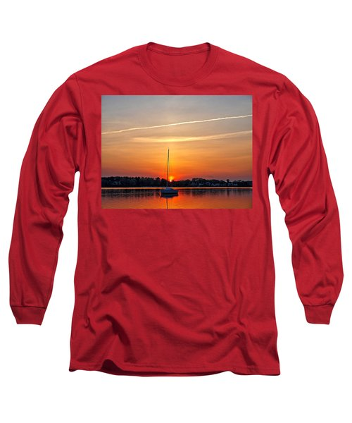 Summer Sunset At Anchor Long Sleeve T-Shirt