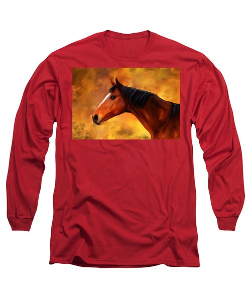 Summers End Quarter Horse Painting Long Sleeve T-Shirt