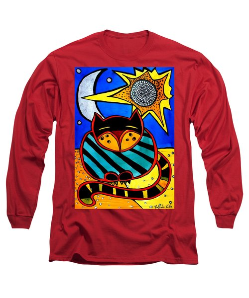 Sun And Moon - Honourable Cat - Art By Dora Hathazi Mendes Long Sleeve T-Shirt by Dora Hathazi Mendes