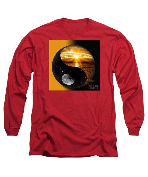 Sun And Moon - Yin And Yang Long Sleeve T-Shirt by Shirley Mangini