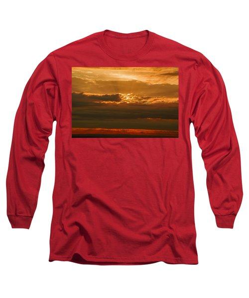 Sun Behind Dark Clouds In Vogelsberg Long Sleeve T-Shirt
