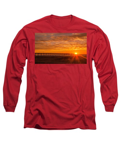 Sun Rising At Port Aransas Pier Long Sleeve T-Shirt