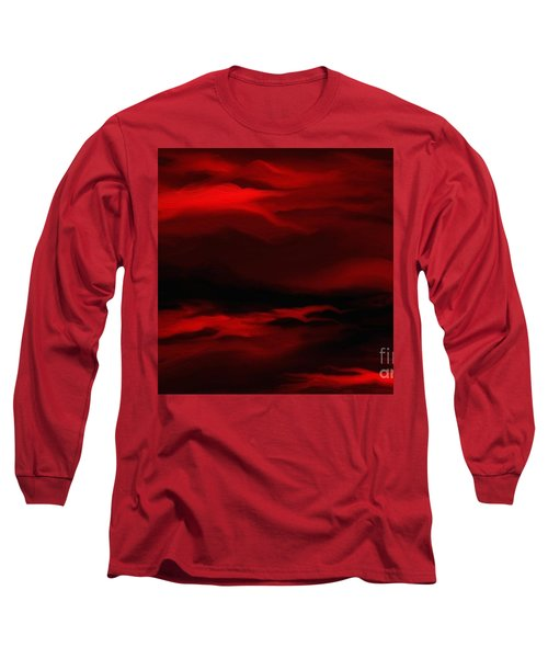 Long Sleeve T-Shirt featuring the painting Sun Sets In Red by Rushan Ruzaick