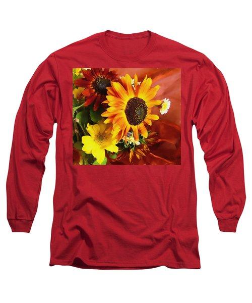 Sunflower Strong Long Sleeve T-Shirt by Kathy Bassett