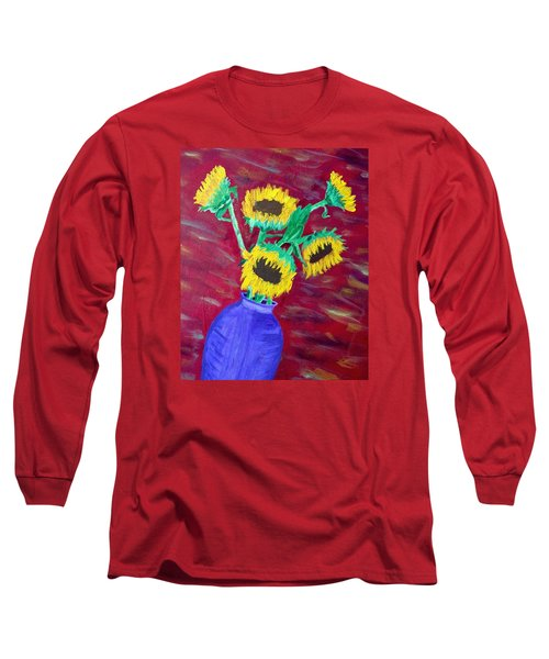Long Sleeve T-Shirt featuring the painting Sunflowers In A Purple Vase by Brenda Pressnall