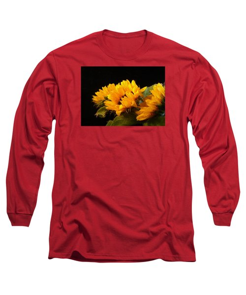 Sunflowers On A Black Background Long Sleeve T-Shirt